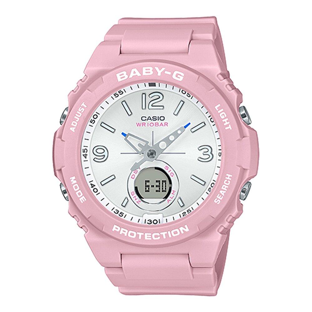 【CASIO 卡西歐】BABY-G 俏皮潮流雙顯錶 橡膠錶帶 櫻花粉 防水100米(BGA-260SC-4A)