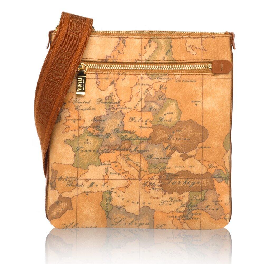 【Alviero Martini 義大利地圖包】扁型小側背包-地圖黃