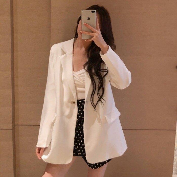 夯貨優選~西裝外套春裝新款女裝氣質韓版薄款帶墊肩寬松顯瘦百搭長袖小西裝開衫外套