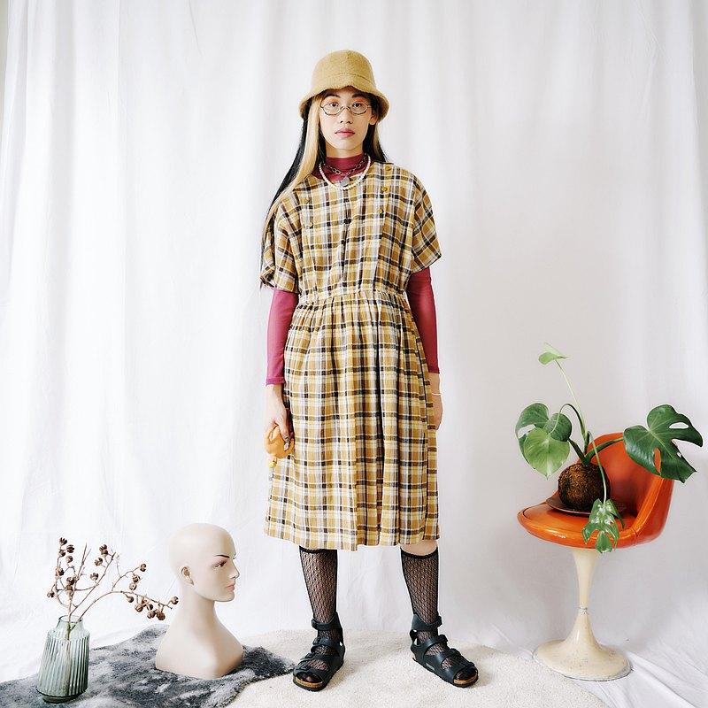關西腔女子| 黃色格子短袖洋裝