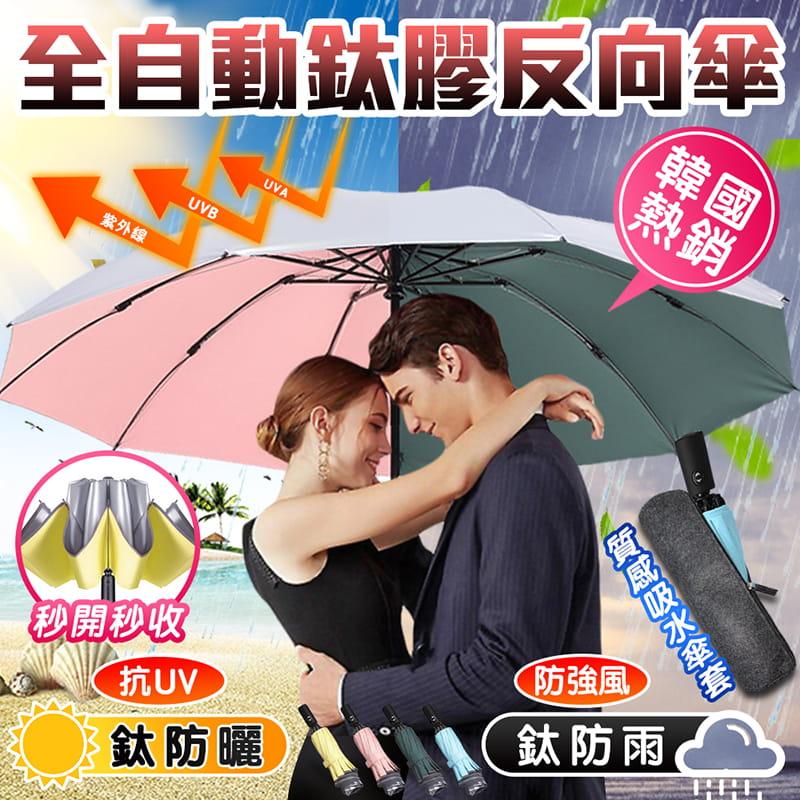 全自動鈦膠反向十骨晴雨傘