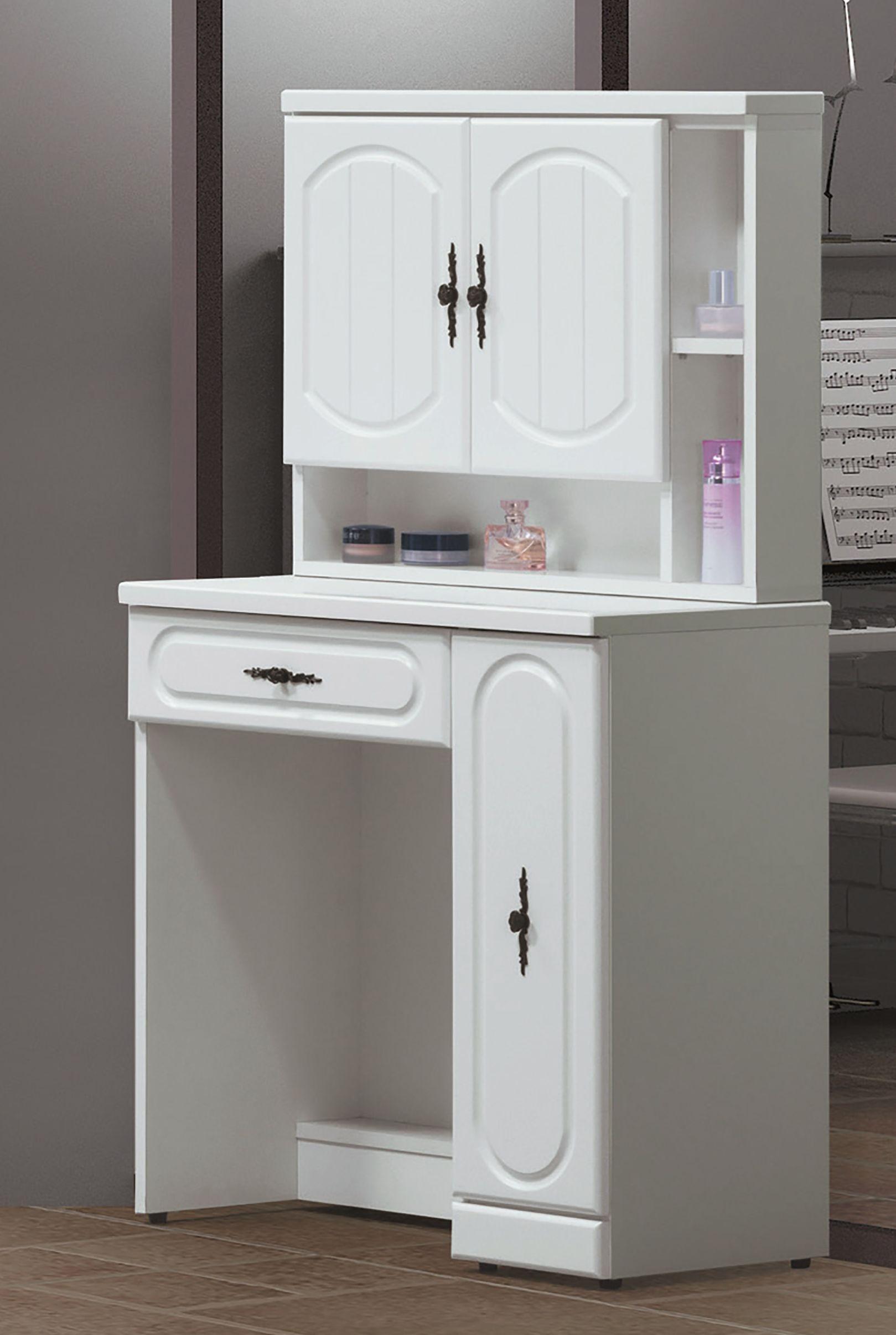 簡單家具,A487-8 貝拉烤白2.5尺鏡台(含椅),大台北都會區免運費