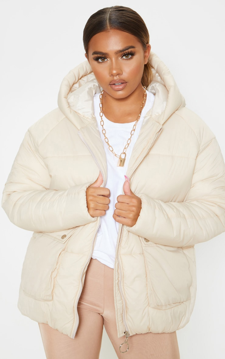 Cream Pocket Front Hooded Puffer