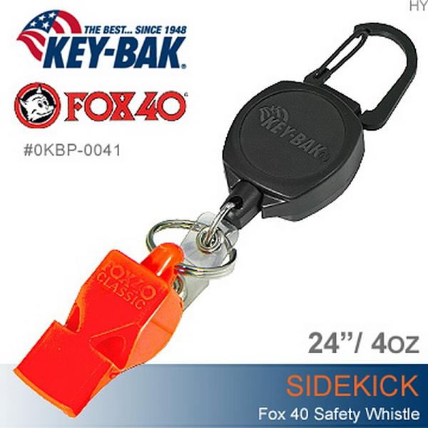 美國KEY BAK-Sidekick 伸縮鑰匙圈+FOX40 SAFETY WHISTLE安全哨 (公司貨))#0KBP-0041