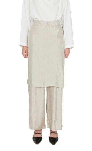 韓國空運 - Shine Wrap Skirt Banding Wide Slacks 套裝