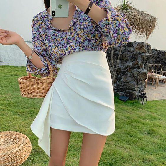 半身裙a字裙2020夏季新款裙子女不規則包臀裙高腰顯瘦白色短裙