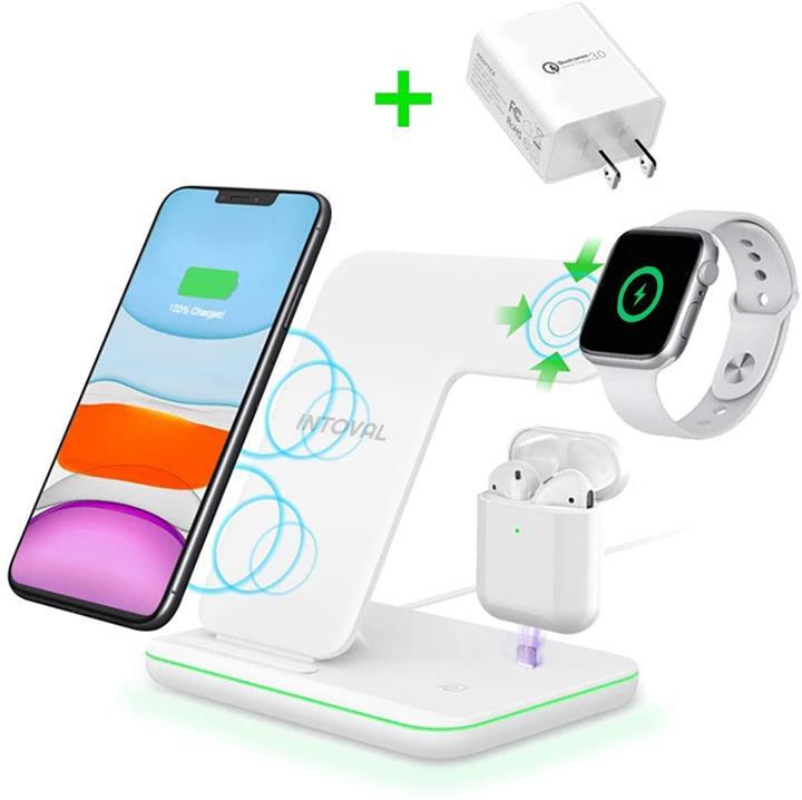 【美國代購】Intoval 適用於Apple Watch / Airpods的三合一無線充電站 經Qi認證
