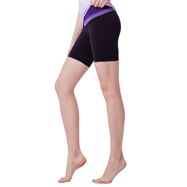 namasteamy 無接縫5分褲-黑/深紫