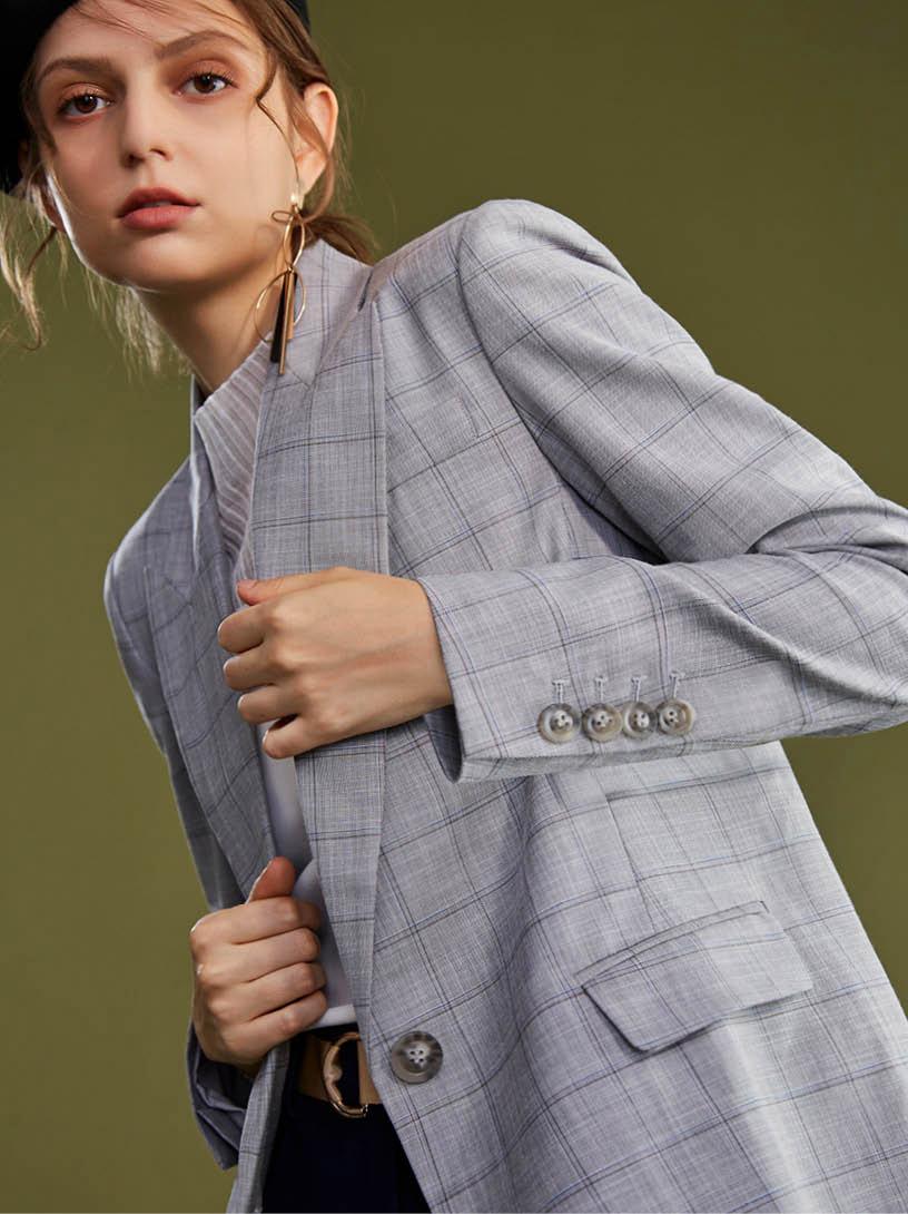 MOMA 格紋西裝外套