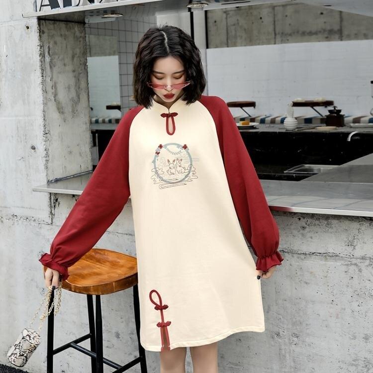 旗袍洋裝 秋新款中國風年輕款短裙復古撞色刺繡衛衣裙小個子改良版少女旗袍 秋冬新品特惠