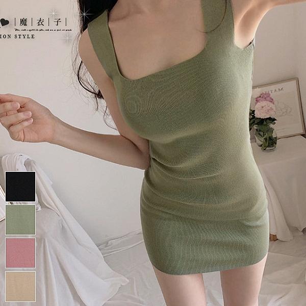 【QV2956】魔衣子- 修身包臀無袖背心針織連身裙