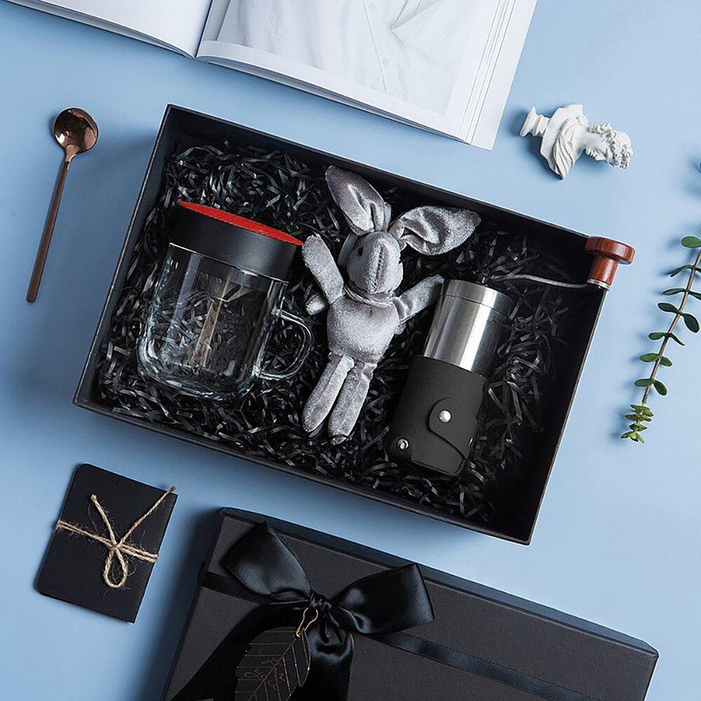 【PO:Selected】丹麥手沖咖啡禮盒組(手動咖啡磨-共2色/咖啡玻璃杯240ml-共4色)