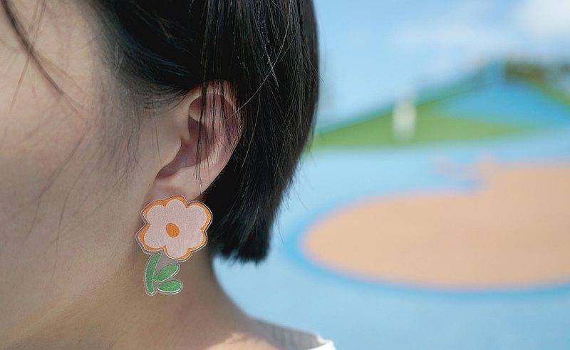 小橘花貼式耳環 耳針 耳夾