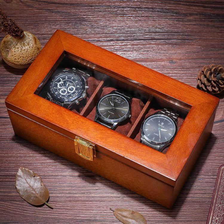 手錶盒 雅式三格手錶盒木質玻璃天窗錶盒子裝手串鏈展示箱收藏收納首飾盒