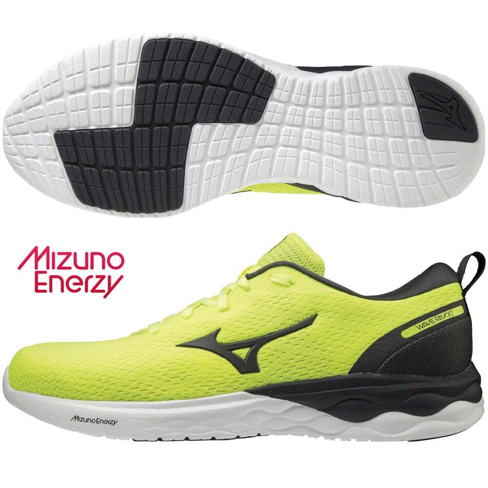 MIZUNO WAVE REVOLT 男鞋 慢跑 休閒 ENERZY中底 回彈 螢光黃【運動世界】J1GC208133