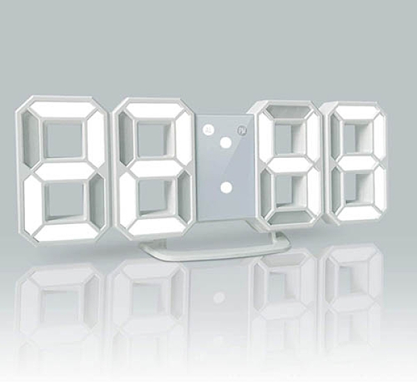 【日本代購】LED數字鬧鐘3D字體 台式壁掛 亮度調整-白字