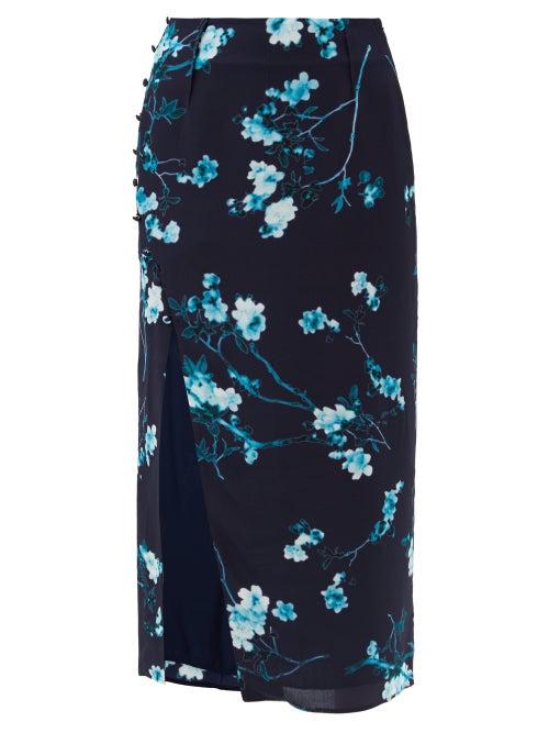 Altuzarra - Edmund Side-slit Floral-print Silk Skirt - Womens - Blue Multi