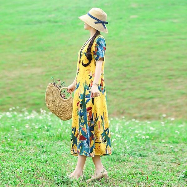 春季民族風文藝復古定位花棉麻洋裝長袖大碼女裝顯瘦長裙 【全館免運】