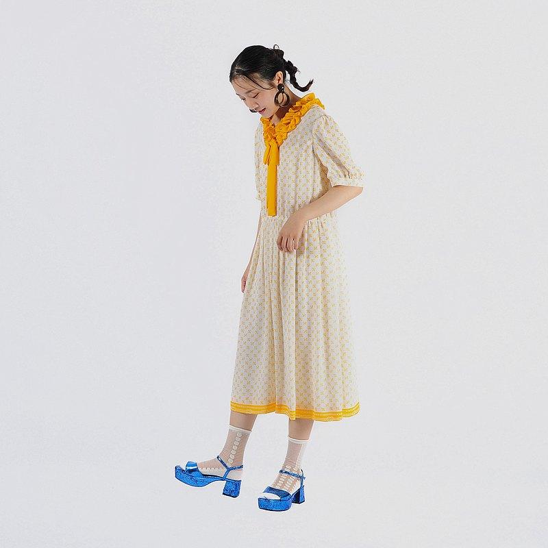 【蛋植物古着】晴天物語印花短袖古著洋裝