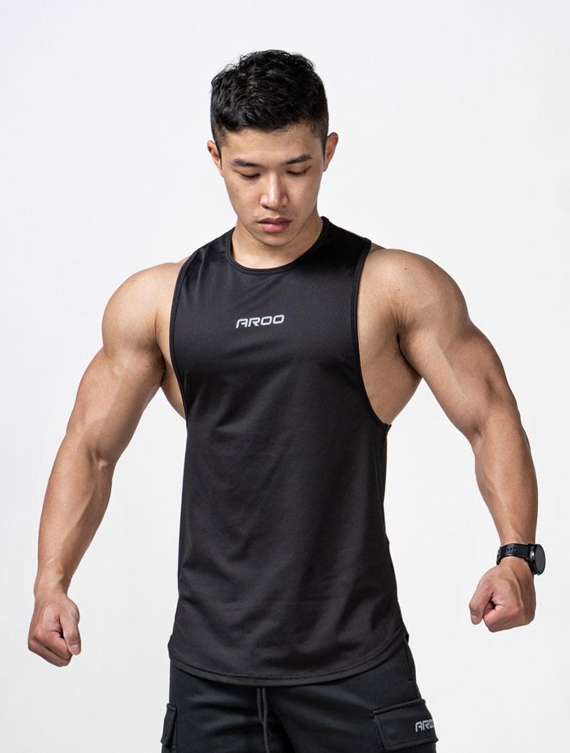 *夢多推薦*[台灣 AROO] 下襬圓弧挖背訓練背心 (黑) XL