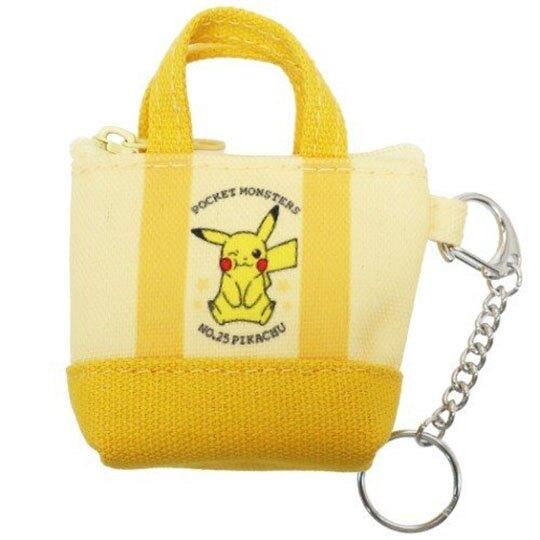 小禮堂 神奇寶貝 提袋造型帆布零錢包 掛飾零錢包 小物包 耳機包 (黃 眨眼)