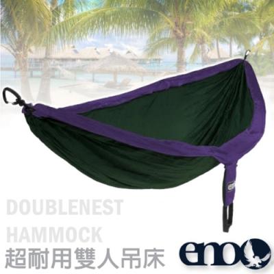 ENO DoubleNest Hammock 高透氣超耐用雙人吊床_紫/森林綠