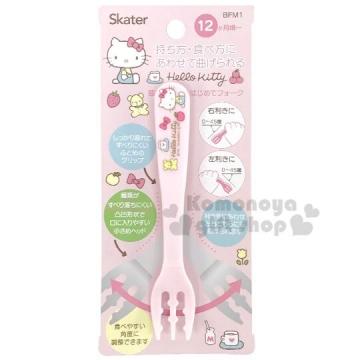 〔小禮堂〕Hello Kitty 兒童塑膠叉子《淡粉.嬰幼兒食器.兒童餐具》
