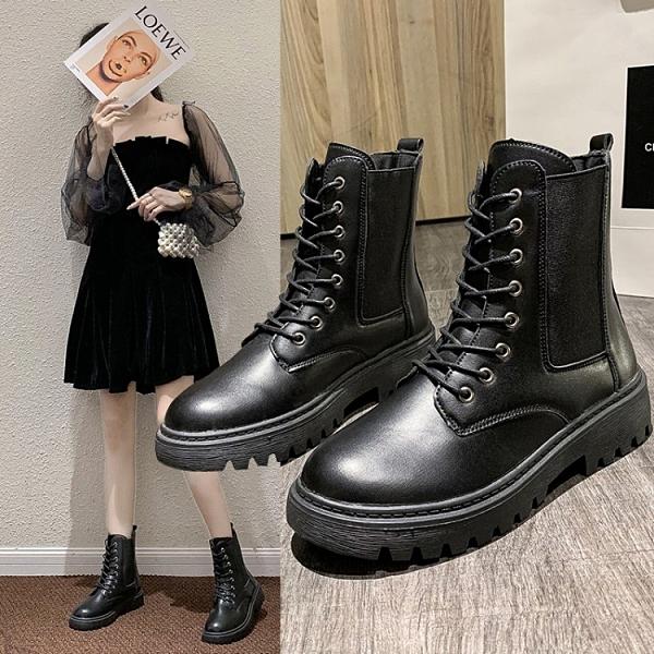 女鞋35~40 2020時尚百搭繫帶中跟馬丁靴 短靴~黑色