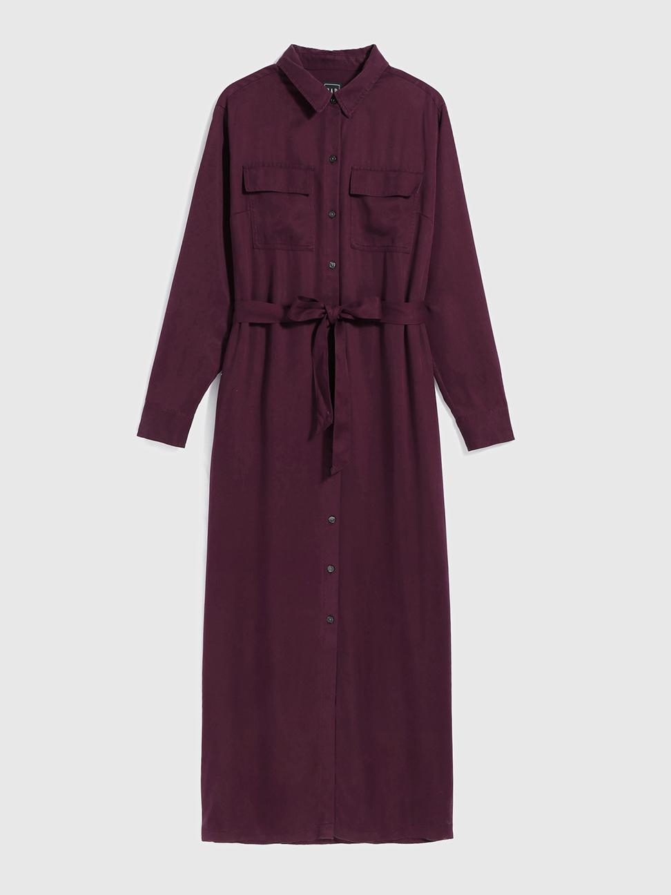 女裝 時尚直筒型襯衫式梭織長款洋裝