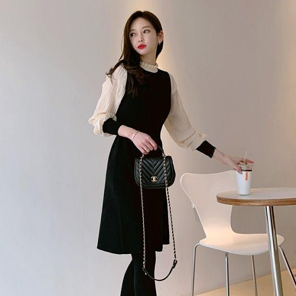 連身裙.韓系氣質荷葉領拼接抓皺長袖洋裝.白鳥麗子