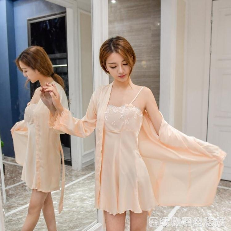 睡衣女夏季性感冰絲綢薄款蕾絲公主抹胸吊帶睡裙睡袍兩件套裝 居家物语