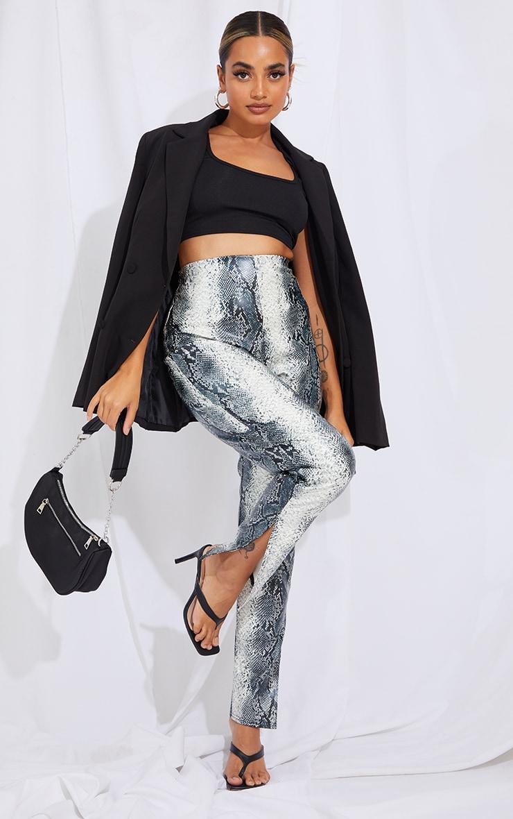 Petite Grey Snake Print Split Hem Trousers
