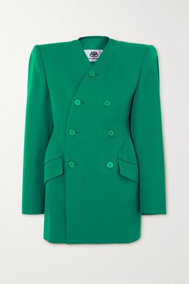 Balenciaga - 双排扣羊毛混纺西装外套 - 绿松石色 - FR38