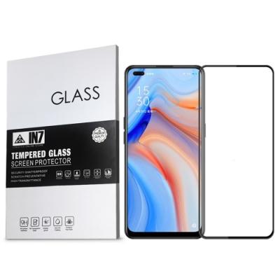 IN7 OPPO Reno4 (6.4 吋) 高清 高透光2.5D滿版9H鋼化玻璃保護貼 疏油疏水 鋼化膜-黑色
