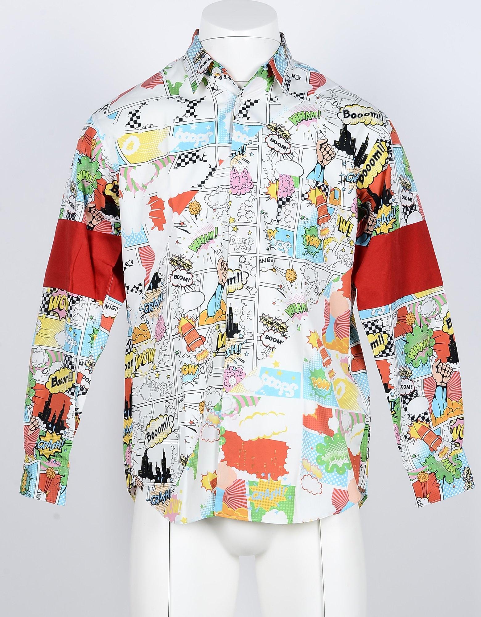 Comme des Garçons 衬衫, Cartoon Printed Cotton Men's Shirt