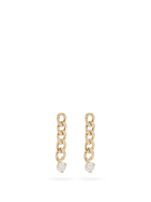 Zoë Chicco - Diamond & 14kt Gold Drop Earrings - Womens - Gold