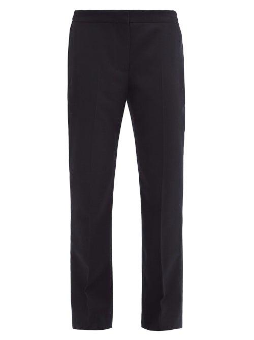 Alexander Mcqueen - Tailored Wool-flannel Straight-leg Trousers - Womens - Navy