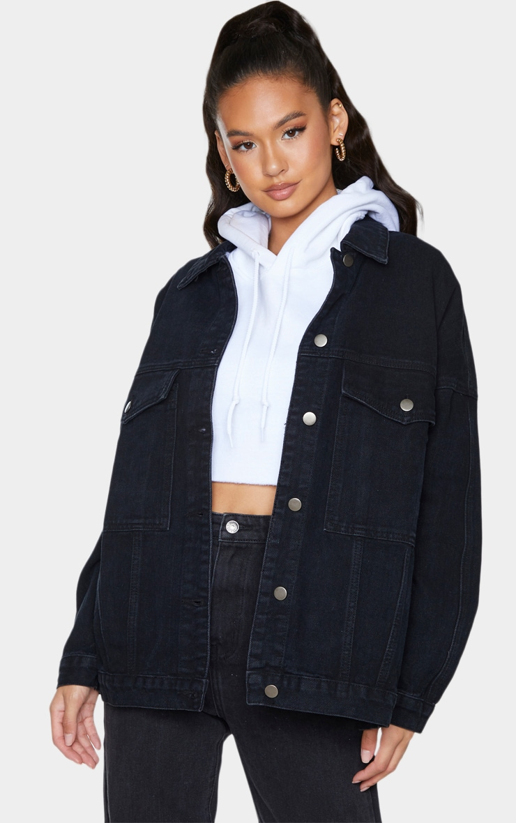 PRETTYLITTLETHING Washed Black Oversized Seam Detail Dad Fit Denim Jacket