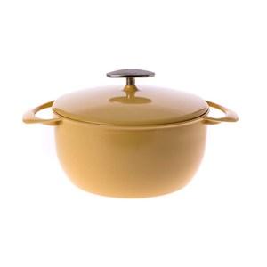 日本UNILLOY極輕量琺瑯鑄鐵深鍋22cm-黃