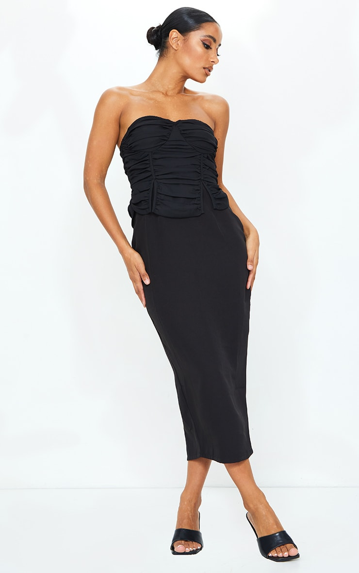 Black Bandeau Ruched Bust Detail Midi Dress