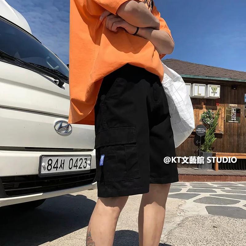 短褲男 S-3XL 韓版直筒寬鬆五分褲 潮流百搭學生工裝短褲 青少年INS休閒工作短褲