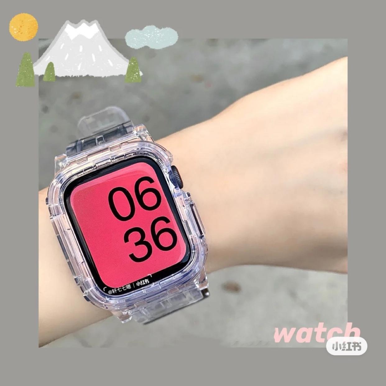 錶帶 iWatch錶帶透明一體錶帶運動iWatch12345代冰川限定全透明錶帶
