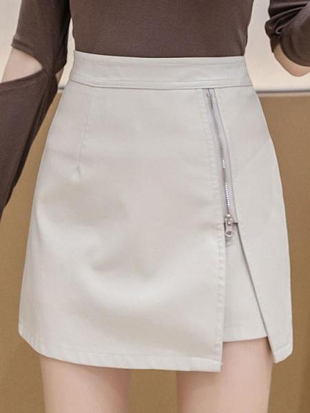 皮裙年新款時尚拉鍊小皮裙女秋冬高腰包臀黑色pu皮短裙A字半身裙 JUST M