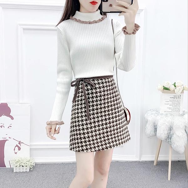 第二件4折 韓國風時尚純色毛衣千鳥格毛呢裙套裝長袖裙裝