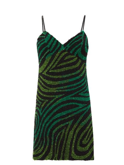 Ashish - Zebra Sequinned Mini Dress - Womens - Black Green