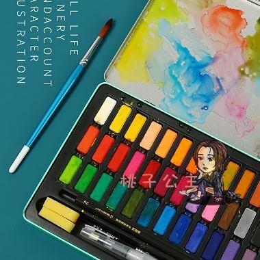 水粉顏料 水彩顏料套裝36色固體水彩顏料初學者繪畫工具分裝學生手繪便攜水彩畫筆套裝