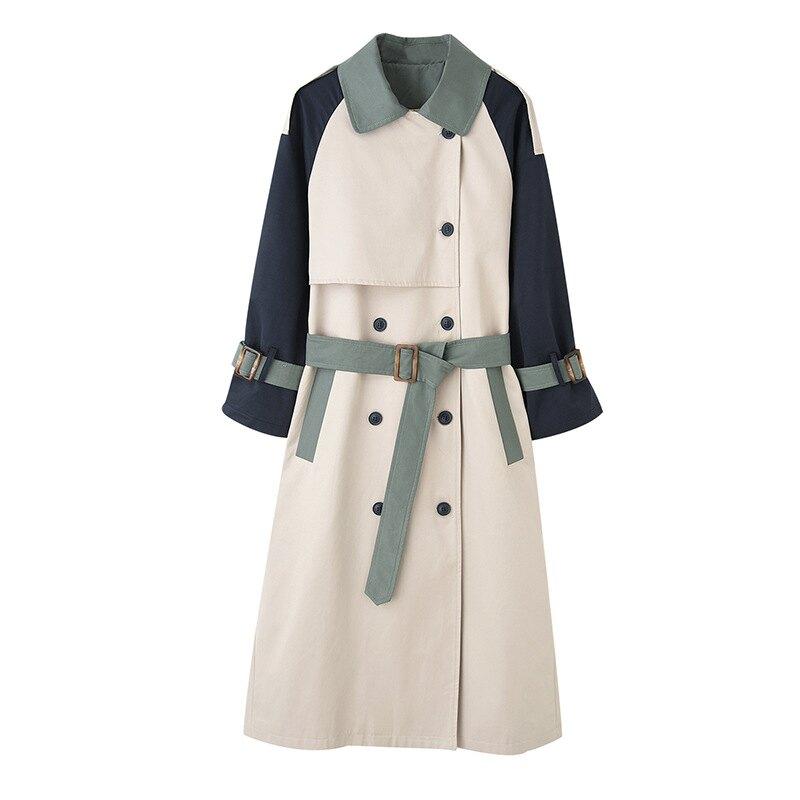 風衣外套長版大衣-撞色袖子拼接薄款女外套2色73yx26【獨家進口】【米蘭精品】