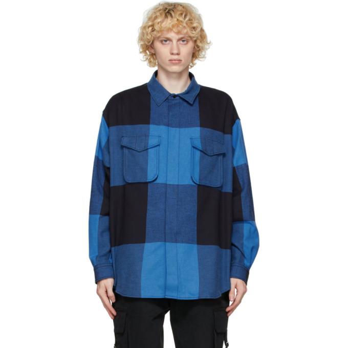 Moschino 蓝色 and 黑色格纹夹克衬衫