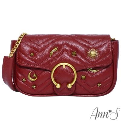 Ann'S日月星辰訂製古銅扣全真皮鍊帶20小方包-酒紅