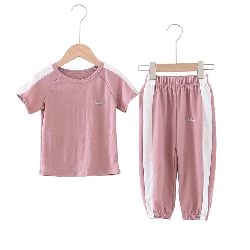 夏季兒童短袖套裝 運動型男女童防蚊褲短袖套裝 透氣涼爽童裝童褲